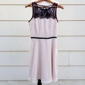LC Lauren Conrad White Polka Dot Black Lace Dress